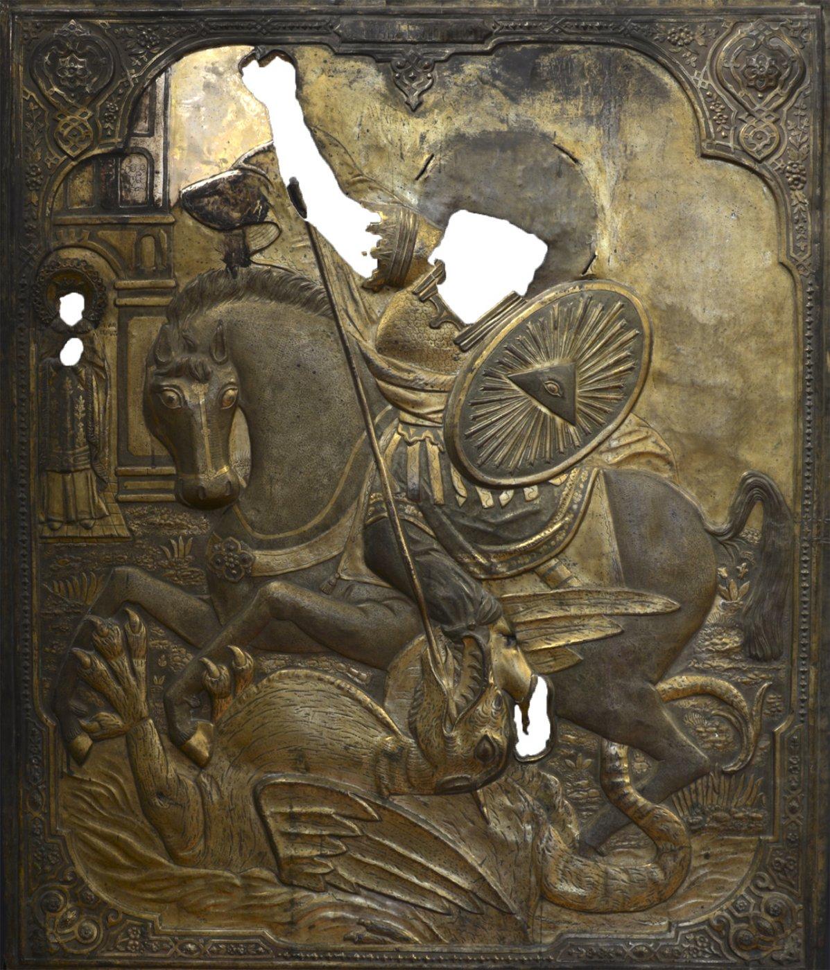 Цуда Георгія аб змеі. XVIII ст. Дрэва, ляўкас, метал. Тэмпера, алей, разьба па ляўкасу, залачэнне, чаканка. 112,0х93,0х2,0 см