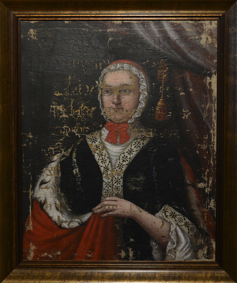 Unknown artist. The portrait of Elzbeta Oginska Puzyna (1700–1767). Polotsk (?), 1760. Canvas, oils. 65x51. From a church in a village of Luchay, Postavy district