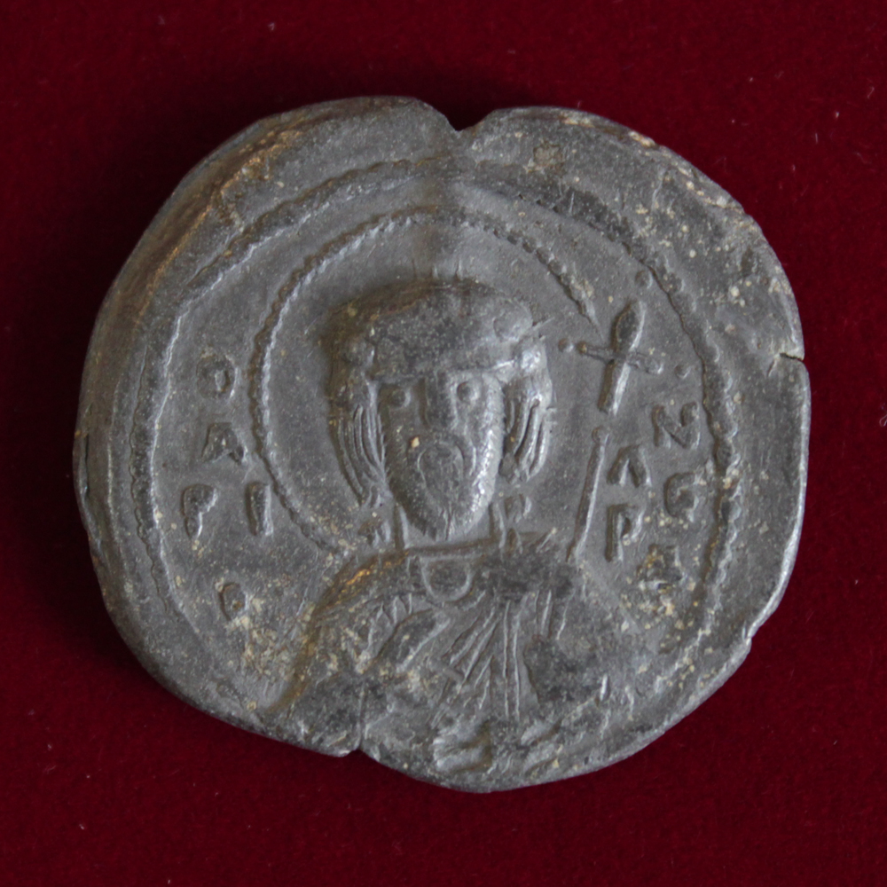 Pendent seal belonged to Vsevolod Yaroslavich. 11th century. Lead, Cast. D-30,0 mm. Excavations by V. Bulkhin. Upper Castle, Polotsk, 1978.