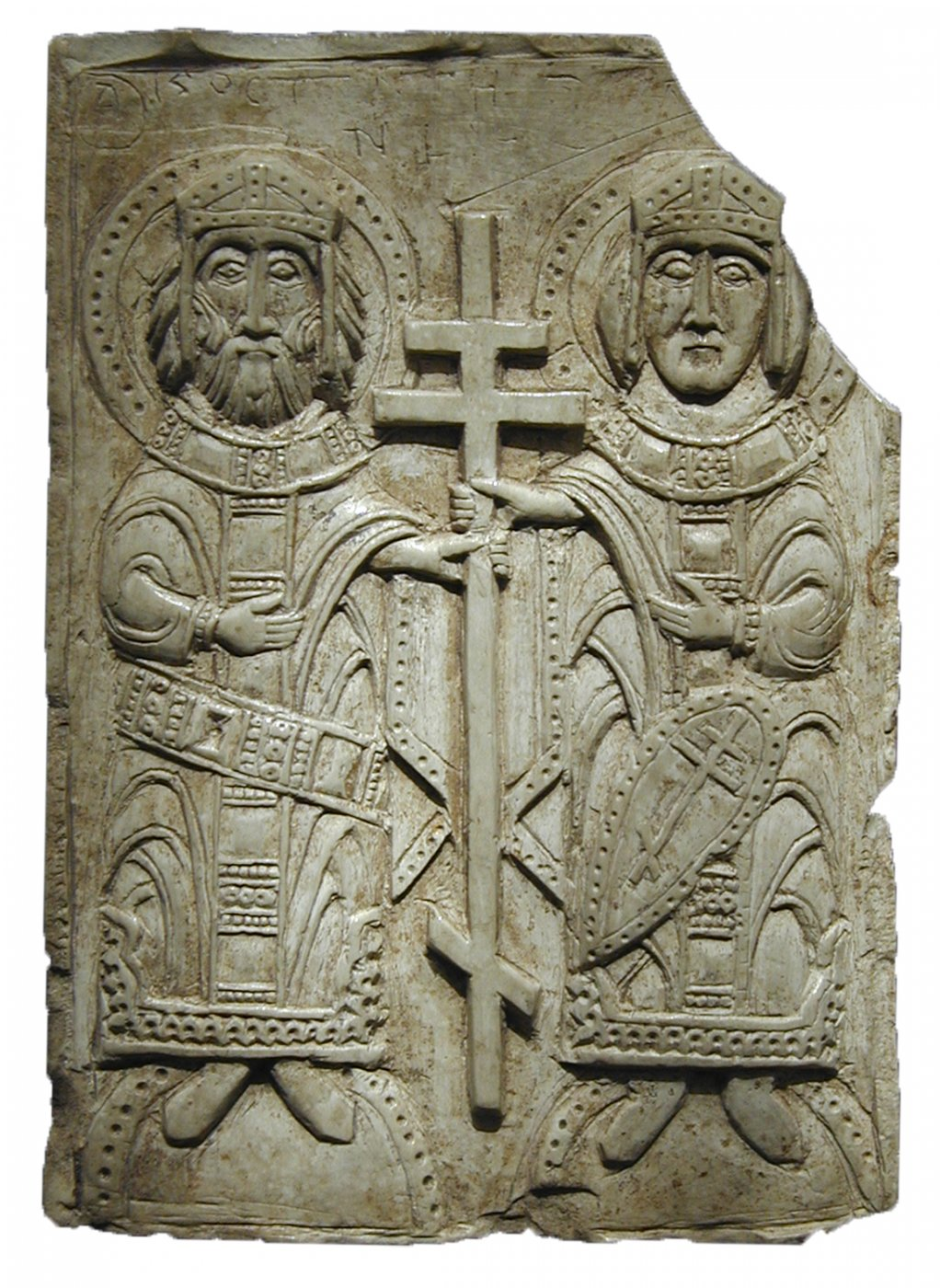 Icon with images of St. Constantine and Helen. 12th century. Steatit, engraving. 6,2x4,4x0,6 cm. Excavations by G. Shtykhov. Upper Castle, Polotsk, 1967.