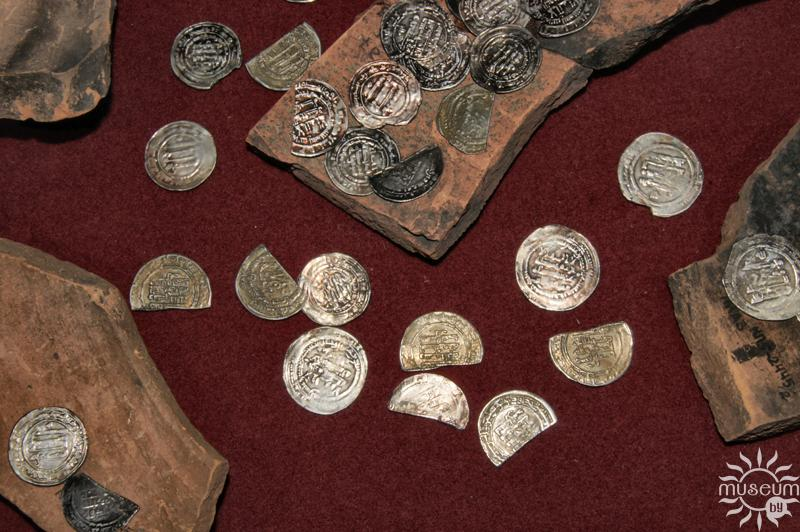Treasure of the silver dirhams of Arabic Chaliphate. 10th century. 7665 coins, total weight over 20 kg. Found near village Kasjanki, Polotsk region, 1973.