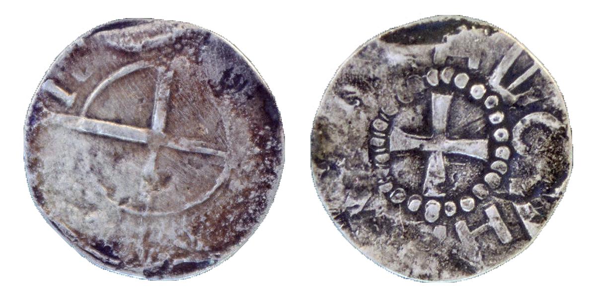 Shilling Livonian (false). Polotsk. 1540-1550. Copper. Chasing. D-19,0 mm.