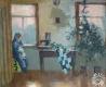 Исаёнок Мария Ивановна. «Вечар у Чарневічах. Мама пляце свае карункі». Холст, масло. Минск, 2003 г. Подарена автором.